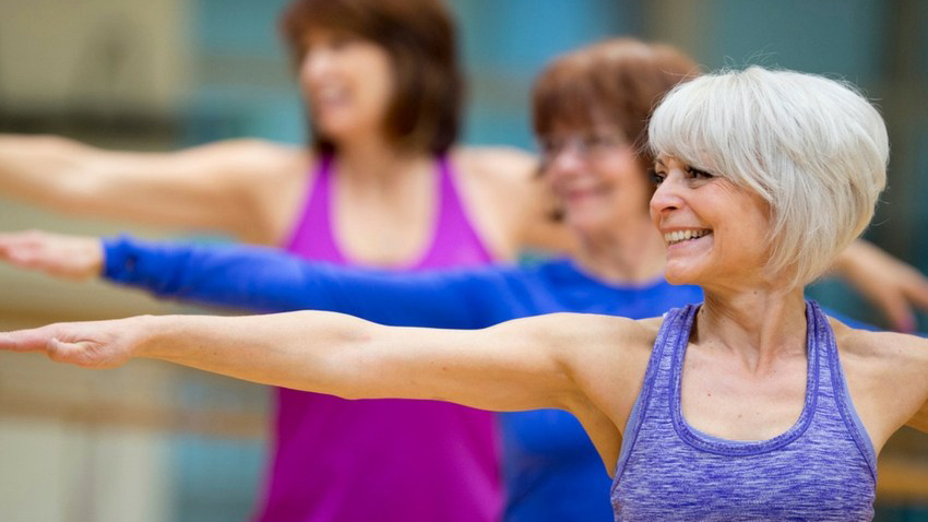 senior women in workout class