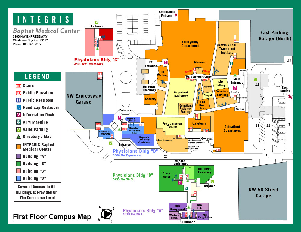 INTEGRIS Baptist Medical Center First Floor Map