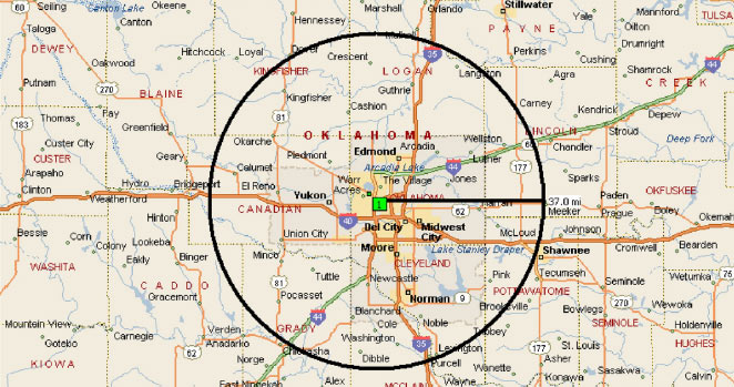 INTEGRIS Hospice in OKC Coverage Map