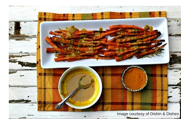 Roasted Carrots with Tahini Turmeric Dressing image courtesy of Dishin & Dishes